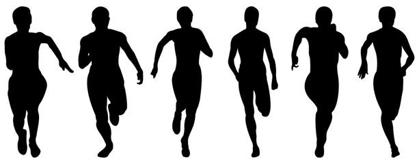 set athletics woman runners running black silhouettes
