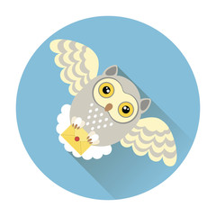 Vector drawing of an owl carrying a letter, a mail
