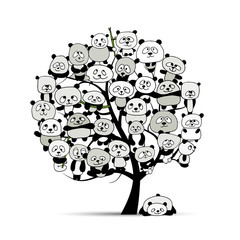 Tree with funny pandas, sketch for your design