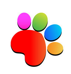 Colorful print paw animal icon logo