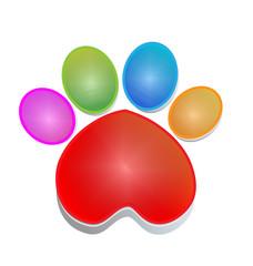 Colorful print paw animal icon logo