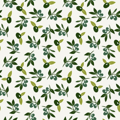 Vector Olive and branch seamless background.