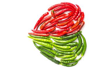 Peppers arranged in heart shape
