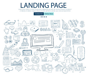 Landing Page concept with Business Doodle design style: company website, device testing,best solutions