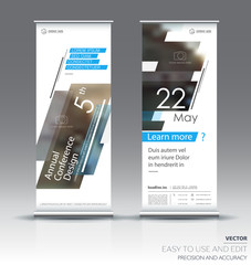 Roll up banner design brochure flyer vertical template, vector x-banner and street business flag-banner, layout. Blue and gray polygons on a white background