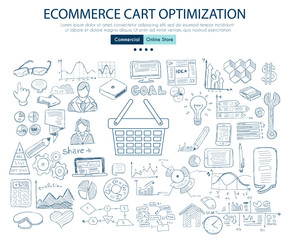 Ecommerce cart optimization concept with Business Doodle design style: online carts, sales and offers, best timing.