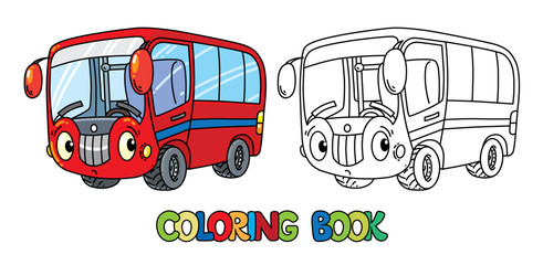 Funny small bus with eyes. Coloring book