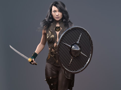 warrior woman character with sword and shield - 3d rendering