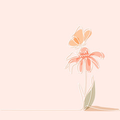 Beautiful soft color flowers Echinacea with butterfly. Continuous line drawing. Vector illustration