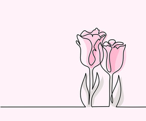 Beautiful pink tulips flowers. Continuous line drawing. Vector illustration