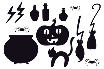 Set of Halloween attributes silhouettes