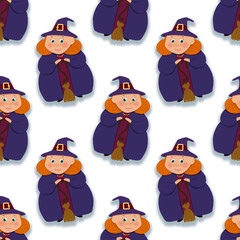 Seamless pattern with Good witches