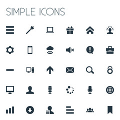 Vector Illustration Set Of Simple Design Icons. Elements Flag, User, Protection Lock And Other Synonyms Mind, Monitor And Button.