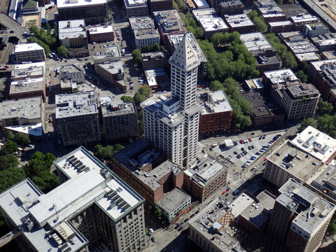 Big beautiful view of Smith Tower building