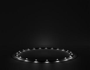 Black background with a pedestal, 3d illustration, 3d rendering.