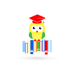 Owl sits on books. Bright symbol of the mind and education. Vector illustration.