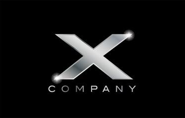 X silver metal letter company design logo