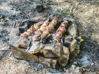 Preparation of meat on a picnic. Pork meat is fried in a spit on an open fire. Shish kebab on skewers.
