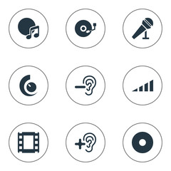 Vector Illustration Set Of Simple Dj Icons. Elements Scale, Increase, Reduce And Other Synonyms Down, Sound And Turntable.