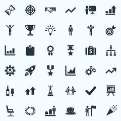 Vector Illustration Set Of Simple Trophy Icons. Elements Gears, Infographic, Partners And Other Synonyms Rocket, Presentation And Ribbon.