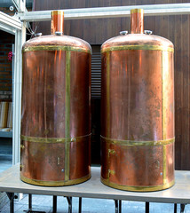 Copper brew Kettles in Bucharest microbrewery