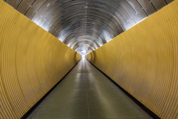 Underground pedestrian tunnel. Perspective with modern design.