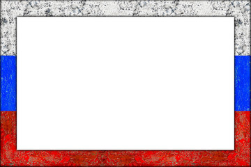 empty picture or blackboard wooden frame in russia russian flag design isolated on white background / Bilderrahmen Rahmen Russland  flagge holz