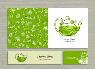 Fotobehang - Greeting cards design, herbal tea