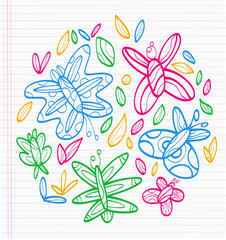 Sheet of notebook with drafts of colorful drawings of butterflies and tree leaves. All to make children happy