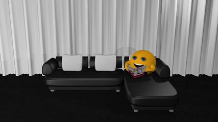 Emoticon sitzt auf einem Ledersofa und liest in einer Zeitschrift.
