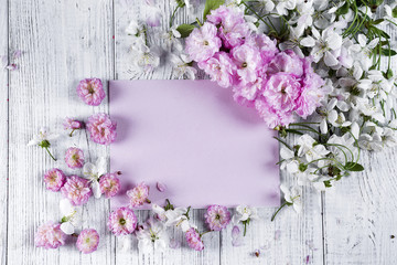 Frame of beautiful flowers