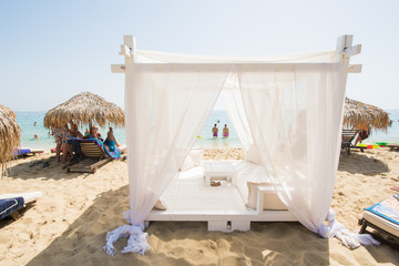 Baldachin, cabana bed on beach - view, sunshine