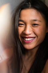 Chinese woman looking happy