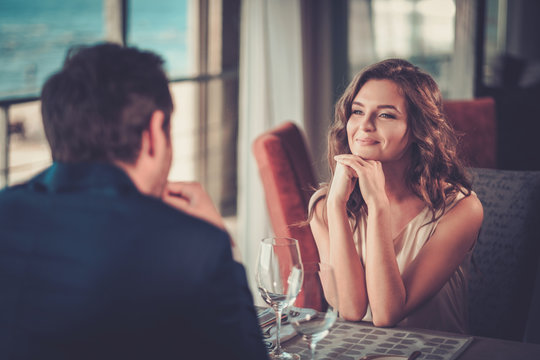 Beautiful couple in a restaurant