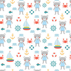 Seamless pattern with cute little bear sailor. Marine children background with fish, sailboat, crab and anchor. Sea, ocean design