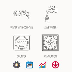 Ventilation, water counter icons.