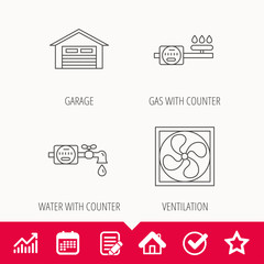Ventilation, garage and water counter icons.