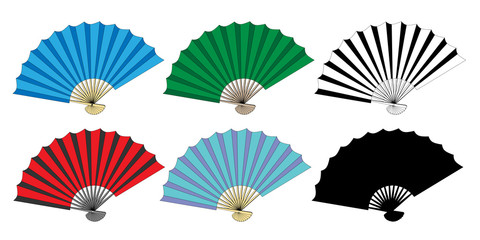 Folding fan vector set