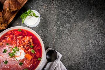 Autumn vegetable soup borscht