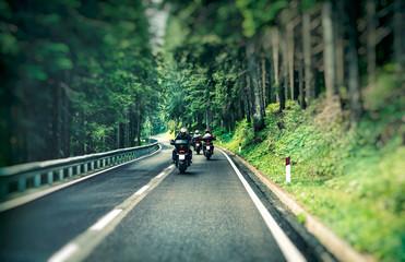 Fototapete - Group of bikers on the highway