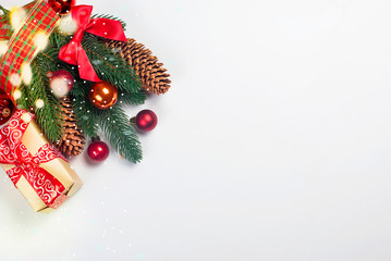 Christmas branches, balls, beads, cones,  Christmas background.