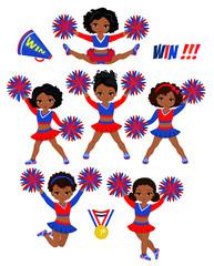 Cheerleadears Team Of Girls .Cheerleading Uniform red blue vector illustration.