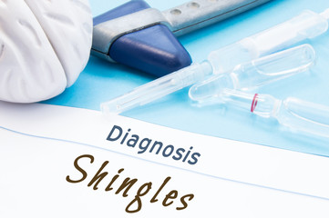 Neurological hammer, brain shape, syringe with needle and vials of medicines are next to inscription Diagnosis Shingles. Diagnostics, treatment and prevention disease of nervous system Shingles