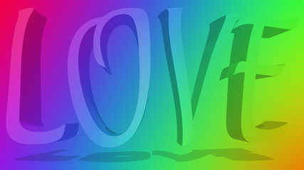The word love against a rainbow colored gradient background.