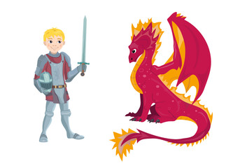 A cartoon dragon and young knight character in his suit of armour holding a sword and shield