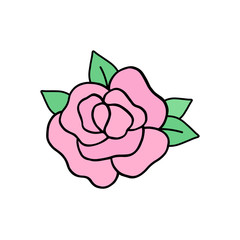 Rose vector illustration drawing, cute pink rose with green leaves. Graphic print, sticker or icon, isolated on white background.