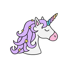 Colorful rainbow unicorn vector illustration drawing. Cute unicorn's head with rainbow horn and violet mane with sparkling stars. Unicorn cartoon graphic print isolated on white background.