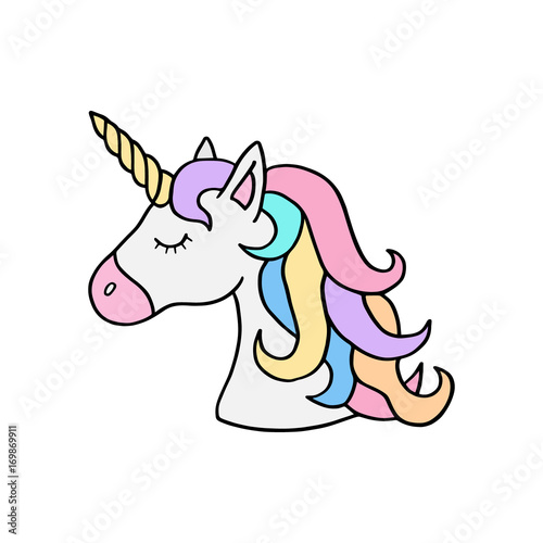 Delightful Colorful Rainbow Unicorn Vector Illustration Drawing. Cute Unicornu0027s Head  With Rainbow Mane And Yellow Horn