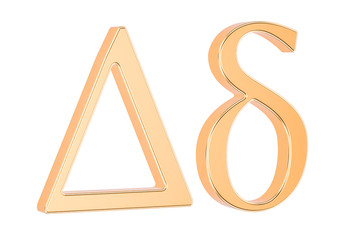 Golden Greek letter delta, 3D rendering