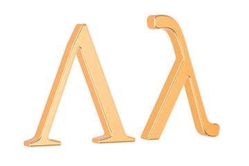 Golden Greek letter lambda, 3D rendering